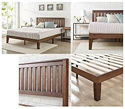 Zinus 12 Inch Solid Wood Platform Bed with Headboard / No Box Spring Needed / Wood Slat Support / Antique Espresso Finish, Queen