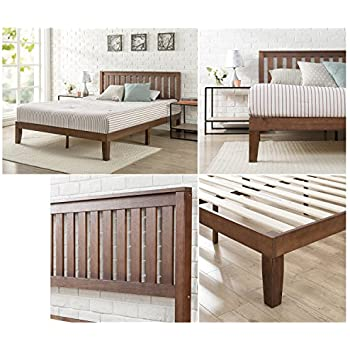 zinus 12 inch wood platform bed with headboard no box spring needed wood slat support antique espresso finish queen
