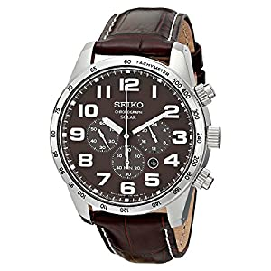 Seiko Men's SSC227 Stainless Steel Solar Watch with Brown Leather Band from Seiko