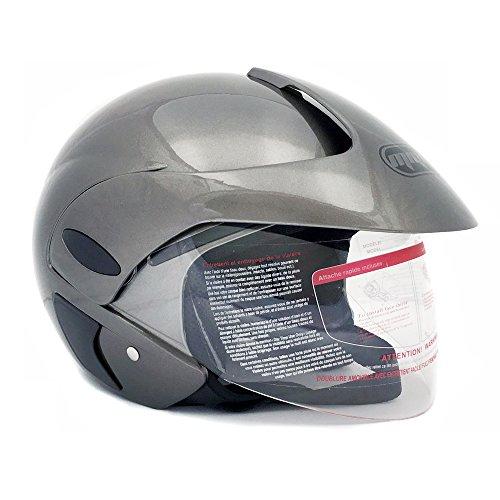 Motorcycle Scooter Open Face Helmet DOT Street Legal - Flip Up Shield - Gray - 203 (XXL)