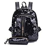 Zanuy Fashion Girl Sequins School Bag Backpack Lightweight Travel Shoulder Bag+ Clutch Wallet (Black)