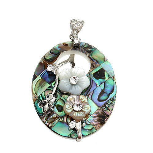 BRCbeads Top QUality Fashion Oval Hollow Flowers Paua Abalone Shell Pendant Bead For Necklace Making ()