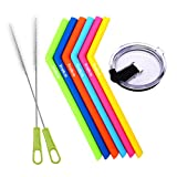 Tegion Reusable Silicone Drinking Straws with Cleaning Brush and 30 OZ Spill Proof Tumbler Lid for Yeti RTIC Ozark Trails 9 Pack