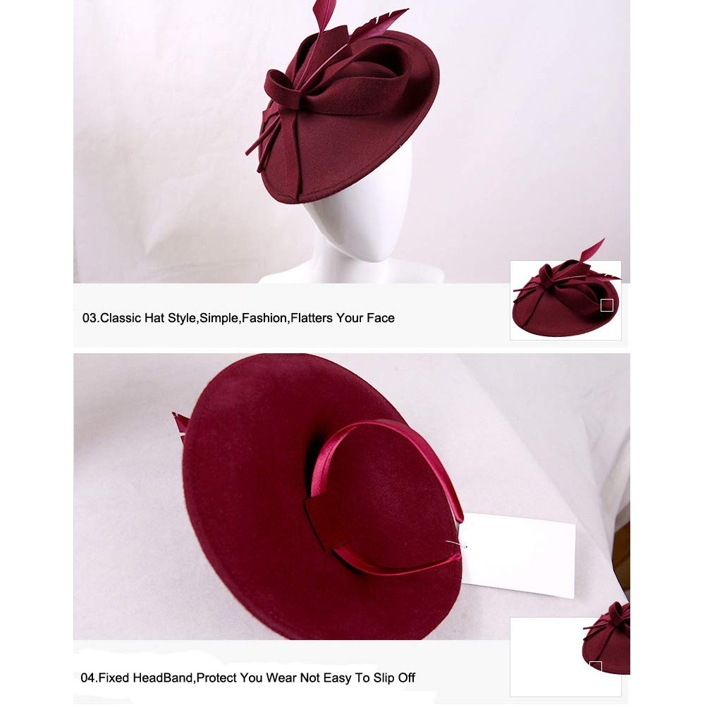 Vintage Womens Dress Fascinator Wool Pillbox Hat Formal Church Wedding Tilt Hat Black by FADVES (Image #5)