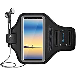 LOVPHONE Note 8/Note 9 Armband Sport Running Exercise Gym Case for Samsung Galaxy Note 8/Note 9,Fingerprint Sensor Access Supported with Key Holder & Card Slot,Water Resistant and Sweat-Proof(Gray)