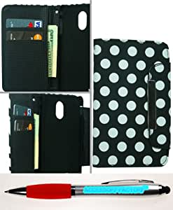 Accessory Factory(TM) Bundle (the item, 2in1 Stylus Point Pen) Wallet Pouch Samsung D710 Epic Touch 4G Black Polka Dot Case Cover Protector