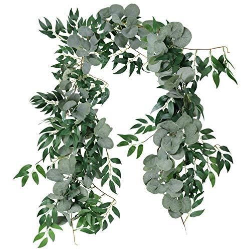 Garland Fresh (Furnily Artificial Eucalyptus and Willow Vines 2 Pcs Faux Garland for Wedding Backdrop Arch Wall Decor Table Runner Vine)