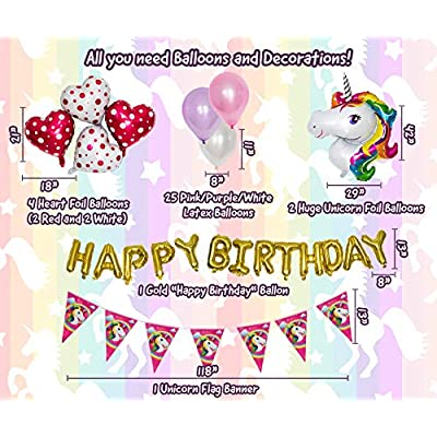 Imagine's Complete Unicorn Party Supplies – 220+ Piece Rainbow Girls Birthday Supplies Pack with Unicorn Balloons, Headbands, Party Favors for Kids, MORE – Magical Unicorn Sleepover Party Set for 15: Toys & Games