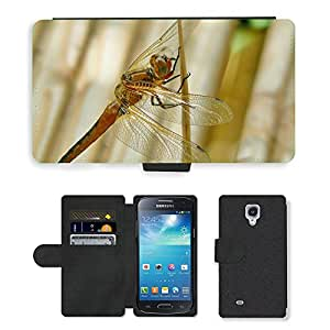 Hot Style Cell Phone Card Slot PU Leather Wallet Case // M00109084 Dragonfly Insect Animal Close Wing // Samsung Galaxy S4 Mini i9190
