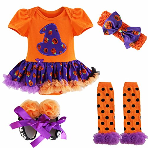 FEESHOW Infant Baby Girls Pumpkin First Halloween Costume Tutu Romper Outfit Set Purple Orange 3-6 Months