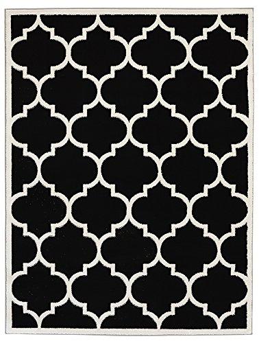 Ottomanson Paterson Collection Contemporary Moroccan Trellis Design Lattice Area Rug, 5'3 x 7'0, Black