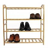 Cinlv 3 Tier 9 Pair Bamboo Shoes Racks Portable 3 Tier Shelf Storage Organizer Space Saving Tower Shoes Rack