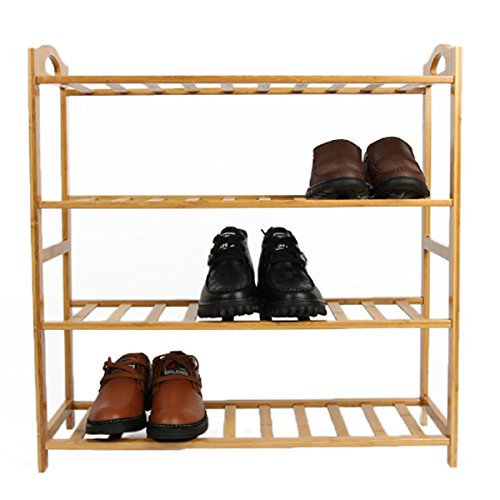 Cinlv 3 Tier 9 Pair Bamboo Shoes Racks Portable 3 Tier Shelf Storage Organizer Space Saving Tower Shoes Rack (Gold Shoe Rack)