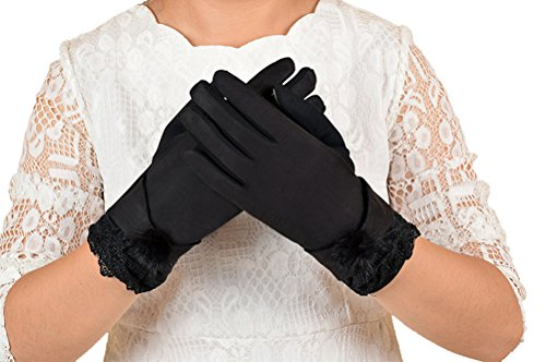 Price comparison product image Women's Magic Touch Screen Gloves, Ladies Girls Suede Leather Thermal Texting Gloves with Furry Fur Thick Fleece Lined Mittens Winter Warm Touchscreen Driving Ski Snow Gloves Handwarmer Christmas Gift