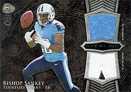Bishop Sankey player worn jersey patch football card (Tennessee ...