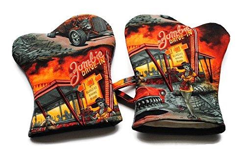 Mitt Cowgirl (Handmade Oven Mitts Zombie Drive In Apocalypse Alexander Henry Black Orange)