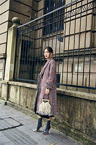 Outerwear De Vintage Invierno Mujer Cuadros Borlas Elegantes Fashion Larga Otoño Manga Abrigos Chaqueta Casual Termica Solapa Con Slim Rot Retro Largos Chaquetas Fit 1UwdqqEz