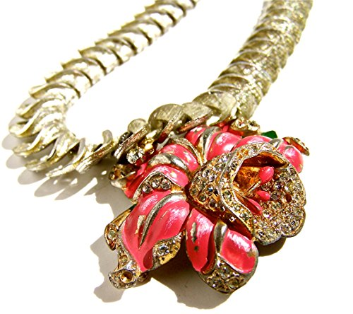 Vintage Statement Necklace, Stunning Tulip Brooch Pendant