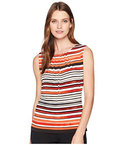 Calvin Klein Women's Printed Pleat Neck Cami Spicy Orange Multi X-Large