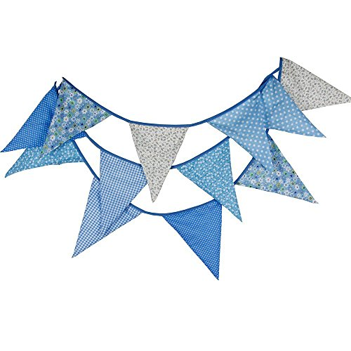 Extra Large Bunting 3.7M/12 Feet Flag Banner Pennant Garland Fabric Triangle Flags Double Sided Vintage Cloth Shabby Chic Decoration for Wedding Birthday Party Bedrooms (Blue)