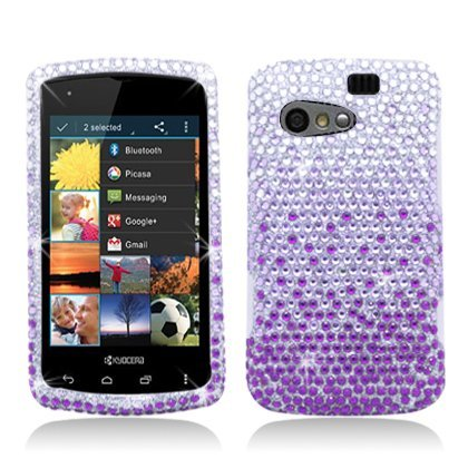 Aimo Wireless KYOC5155PCDI174 Bling Brilliance Premium Grade Diamond Case for Kyocera Rise C5155 - Retail Packaging - Purple Waterfall