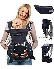 Sweety Fox - Multiposition bärsele med höftsits - för spädbarn och barn från 0 till 3 år - bomull och nät andningsbart tyg med stoppning - komfort och säkerhet med justerbar sele och remmar