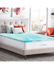 Linenspa LS20QQ30CSGT 2 Inch Convoluted Gel Swirl Memory Foam Mattress Topper - Promotes Airflow - Relieves Pressure Points - Queen
