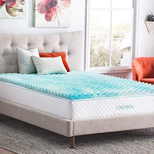 Linenspa 2 Inch Convoluted Gel Swirl Memory Foam Mattress Topper - Promotes Airflow - Relieves Pressure Points - Queen