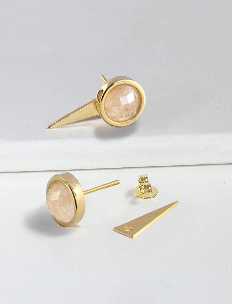 Double Sided 24K Gold Round Gemstone Earrings Hypoallergenic 3-Way Convertible FIRE EAR JACKET EARRINGS For Women Birthday Wedding Summer Bridesmaid Jewelry gifts