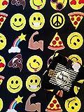 Velvet Fleece Emoji Throw Blanket (Black)