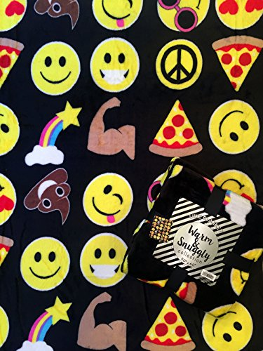 Velvet Fleece Emoji Throw Blanket (Black) by Velvet Fleece