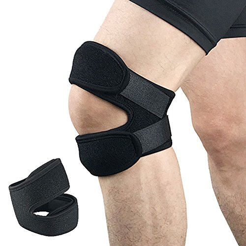 Double Patella Knee Strap by Adjustable Neoprene knee brace support for Running Arthritis Jumper Tennis Basketball, Knee Pain Relief Black by Beeme