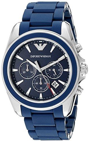 Emporio Armani Round Dial Watch - Emporio Armani Men's AR6068 Sport Silver Silicone Watch