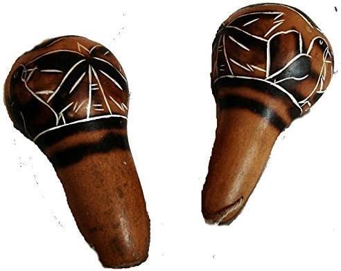 Fair Trade ian Wooden Shaman Calabash Hand Rattle Maraca