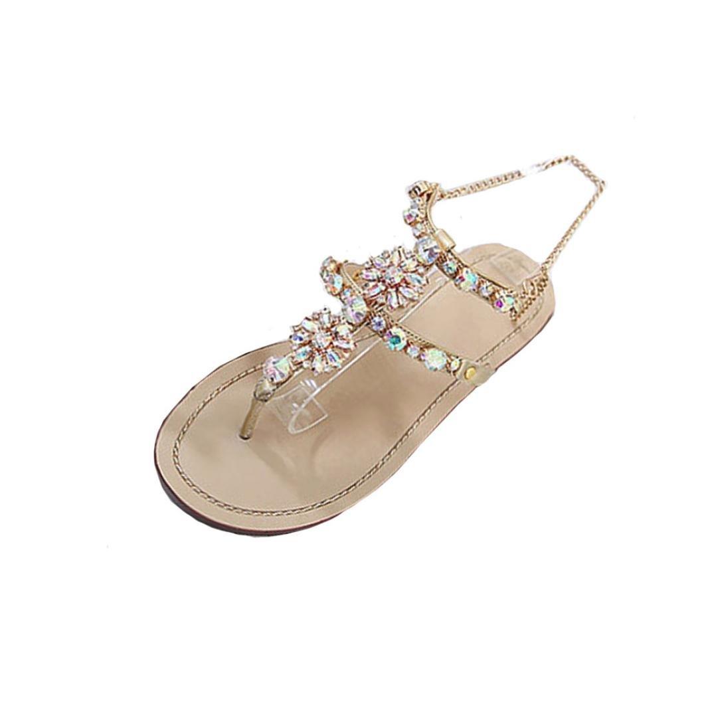 36d7a8091 Challen Women s Beach Sandals Boho Rhinestone Flip Flops Flat Low Heel  Ankle Strap Thongs Shoes