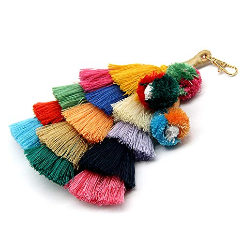 (ALoveSoul Colorful Boho Pom Pom Weaving Tassel Bag Charm Keychain Handbag Key Ring, Blue)