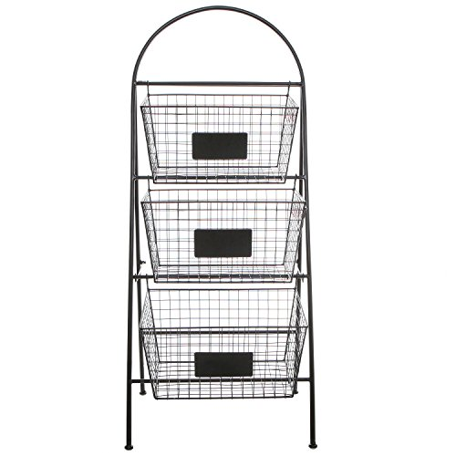 Attractive Amazon.com: 3 Tier Modern Black Metal Wire Mesh Basket Floor Rack  JS94