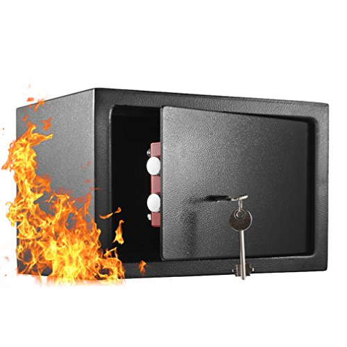 Small Steel Security Safe,Key Lock Indoor Safe Box Fireproof, Gun Safe, Hard Safe for Cash,Deposit,Jewelry,File,Document,and Gun,Safe Equipment for School,Hotel,Office,Home and Store