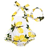 Slowera Baby Girls 2pcs Sets Cotton Ruffles Romper Outfits Clothes (L:24Months, White Yellow Lemon)