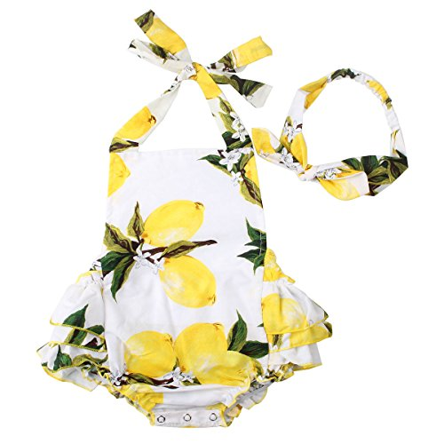 Slowera Baby Girls 2pcs Sets Cotton Ruffles Romper Outfits Clothes (S:6Months, White Yellow Lemon)