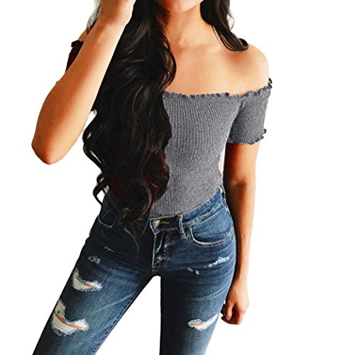 Clearance! Quistal Womens Sexy Strapless Off Shoulder T-Shirt Short Sleeve Crop Blouse Tops Tees Gray