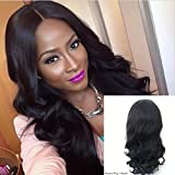 "Cheap JYL Hair Loose Wave 360 Silk Base Lace Frontal Wig Brazilian Virgin Hair with 3×3 Silk Top Pre Plucked Hairline Human Hair Lace Wigs 180% Density Baby Hair for Black Women (16"", 180% natural color)"