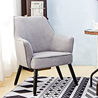 Harper&Bright Designs Fabric Accent Chair Contemporary Style Arm Chair Metal and Legs (Grey)