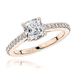 Luxurman Ladies Classic 14K Cushion Natural Diamond Engagement Ring (Rose Gold Size 6)