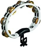 Meinl Percussion TMT2M-WH Mountable ABS Plastic Tambourine with Double Row Dual Alloy Jingles, White