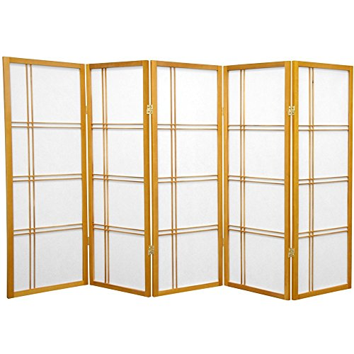 Oriental Furniture 4 ft. Tall Double Cross Shoji Screen - Honey - 5 Panels