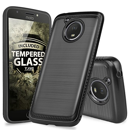 Motorola Moto E4 Plus Case, with TJS [Full Coverage Tempered Glass Screen Protector] Dual Layer Hybrid Shock Absorption Case Carbon Fiber Metallic Brush Finish Back Hard TPU Inner Layer (Black)