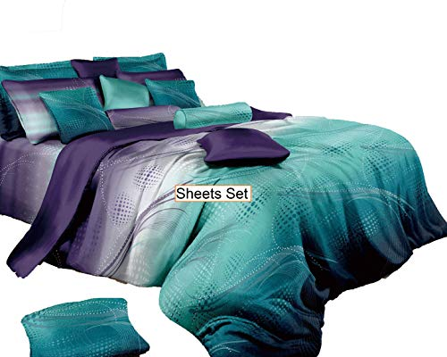 Swanson Beddings Twilight-P Sheet Set : Fitted Sheet, Flat Sheet and Two Matching Pillowcases (King)