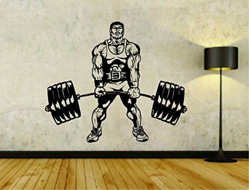 Man Lifting Weights Weight Bar Powerlifter Fitness Gym Weightlifting Bodybuilder Bodybuilding Weight Training Arm Flex Flexing Workout Gym Vinyl Wall Decal Sticker WEDLIFT 24X28