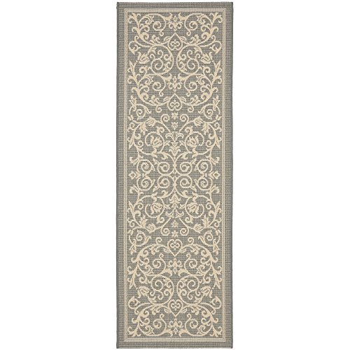 Safavieh Courtyard Collection CY2098-3606 Grey and Natural Indoor/Outdoor Runner (2'4